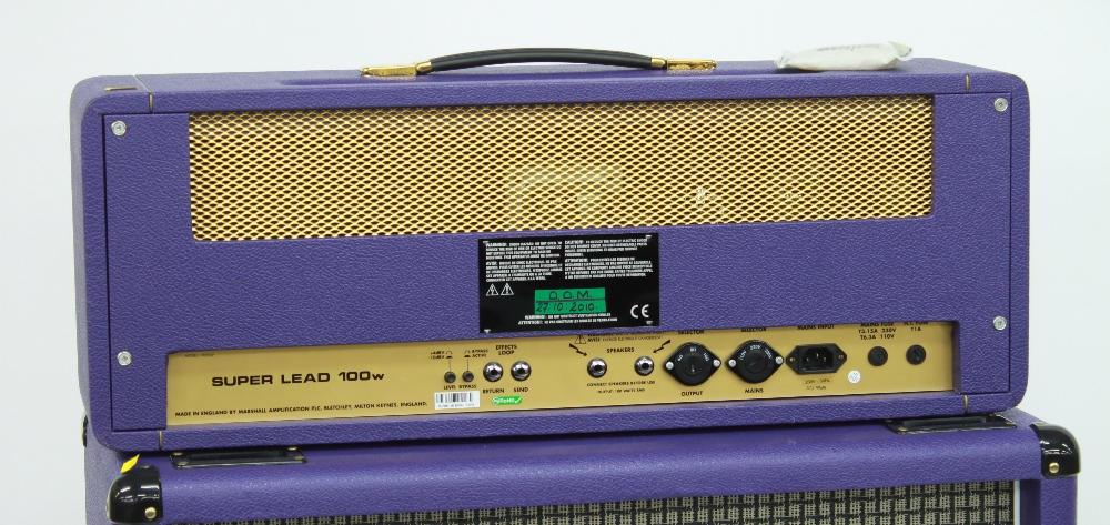 2007 Marshall Model 1959SLP Super Lead 100w MKII guitar amplifier head, made in England, with purple - Image 3 of 3