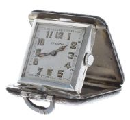Art Deco Eterna silver leather bound square folding purse watch, signed square silvered dial with