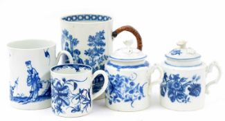 """Rare Worcester blue and white 'walk in the garden' pattern porcelain mug, of waisted form,3.5"""" high"""