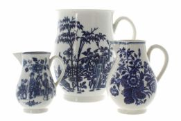 Worcester blue and white 'plantation' pattern baluster porcelain tankard, with crescent mark and