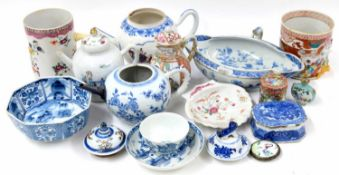 Selection of Chinese export porcelain,18th century and later to include teapots, tankards, blue and