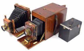 Victorian Thornton Pickard Time Inst. patent Eastman Kodak Co. mahogany cased box camera (bellows at