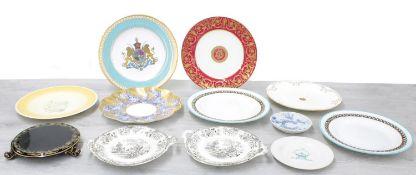 "Susie Cooper Crown Works 'Grey Feather' pattern circular plate, 10"" diameter; Millet & Cie."
