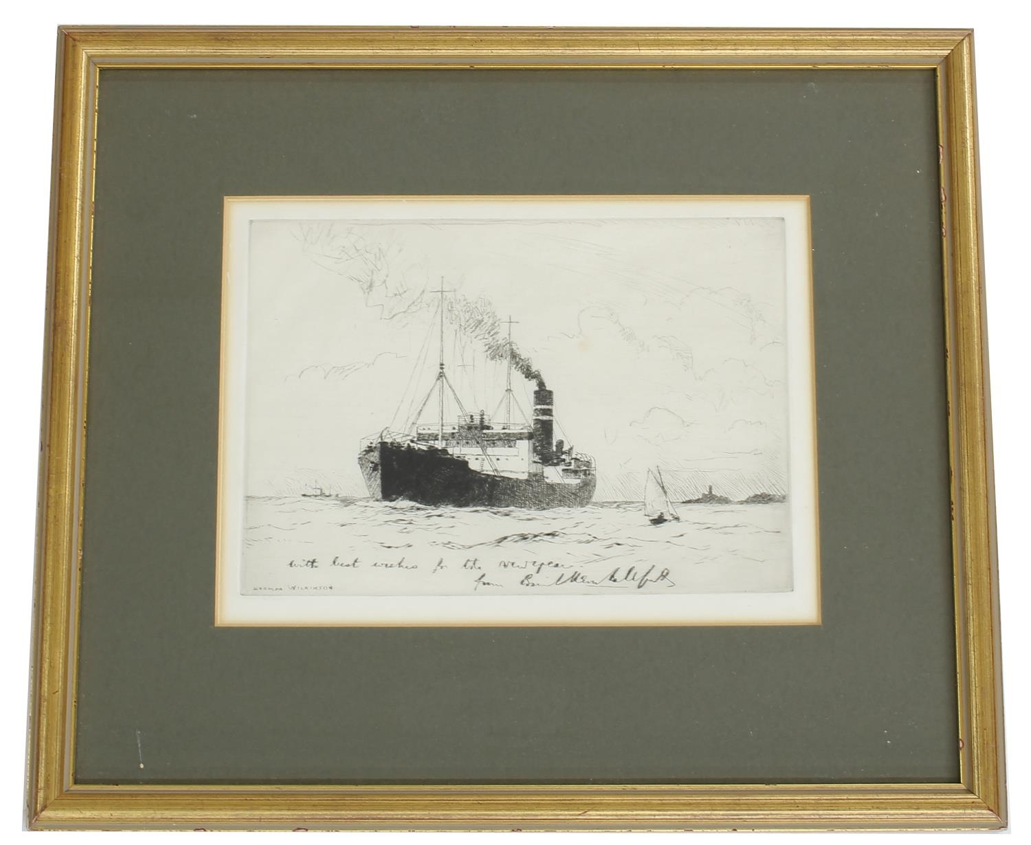 After Norman Wilkinson (1878-1971) -cargo ship leaving harbour, inscribed with the artist's name