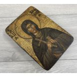 Greek or Russian School (20th/21st century) - an icon depicting Mary Magdelene holding a crucifix,
