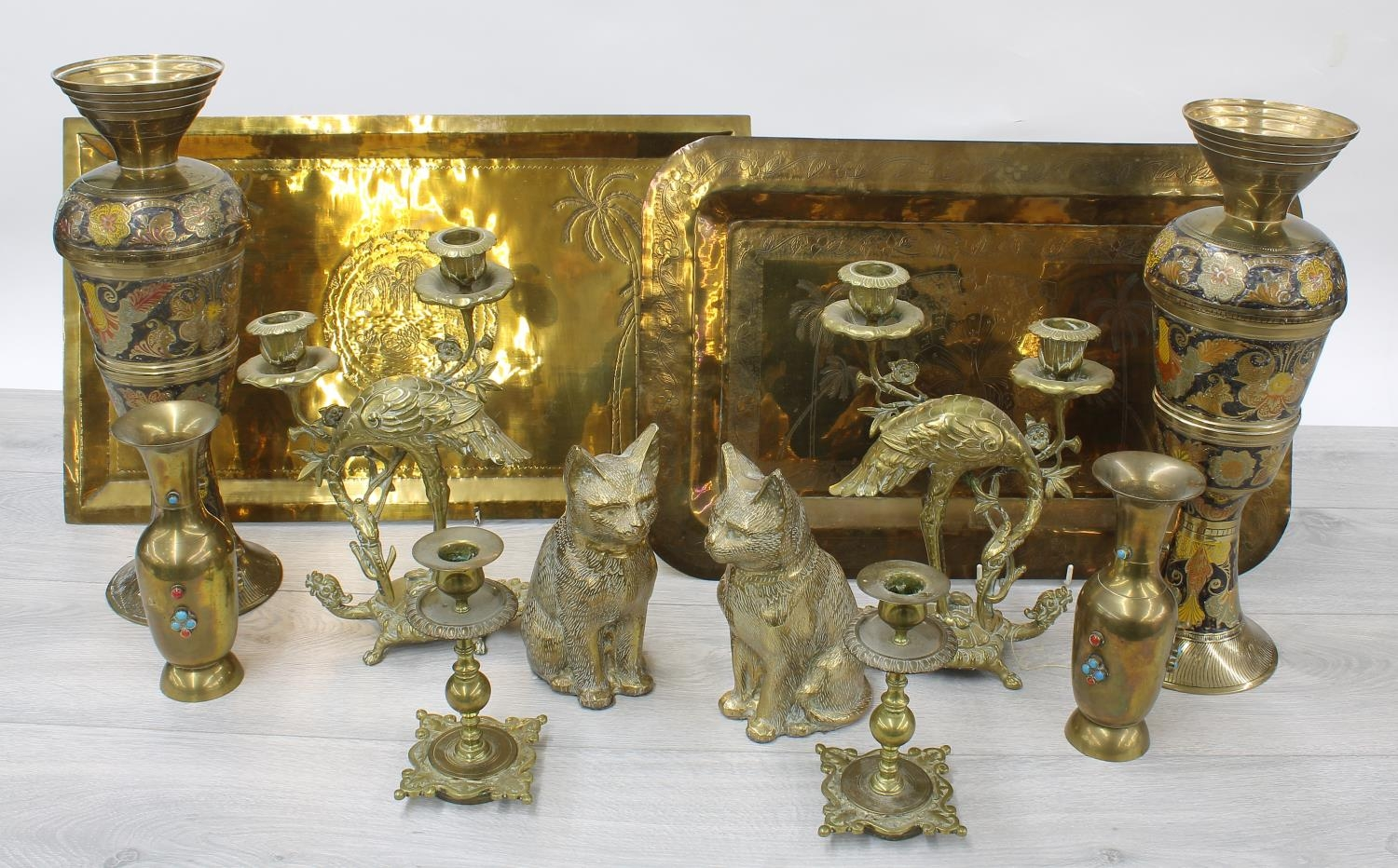 Mixed collection of Eastern and decorative brassware including a pair of turtleand crane twin-