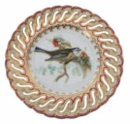 Coalport 19th century reticulated porcelain cabinet plate by John Randall,finely painted with a