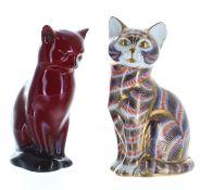"Royal Crown Derby Imari porcelain figure of a seated cat, 5"" high; also a Royal Doulton Flambé"
