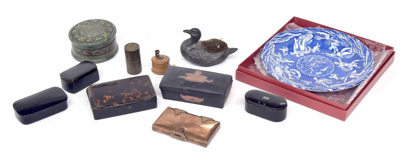 Four 19th century snuff boxes, novelty duck metal pin cushion, copper cigarette case, miniature