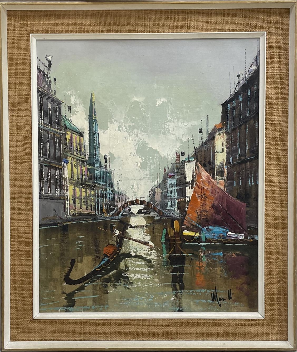 Continental School (20th century) -Venetian canal scene with gondola and fishing boats,