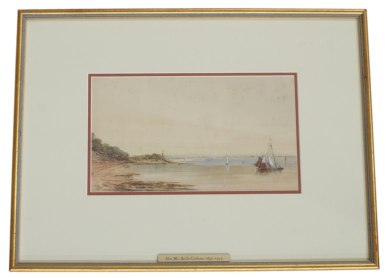 "Hon Mrs Baillie Cochrane (1846-1929) -'Near Cadland, Southampton', signed watercolour, 7"" x 12"" *"