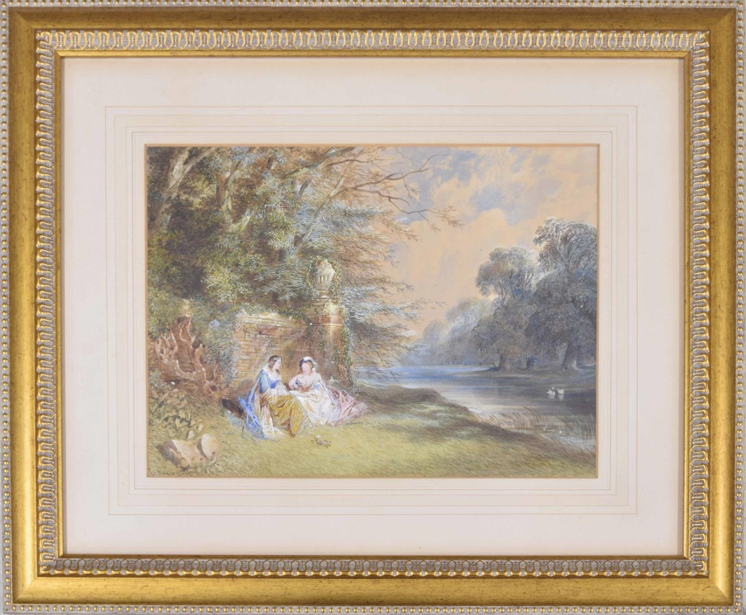 John Edmund Buckley (1824-1876) - 'Landscape and Figures' two elegantly dressed young girls seated
