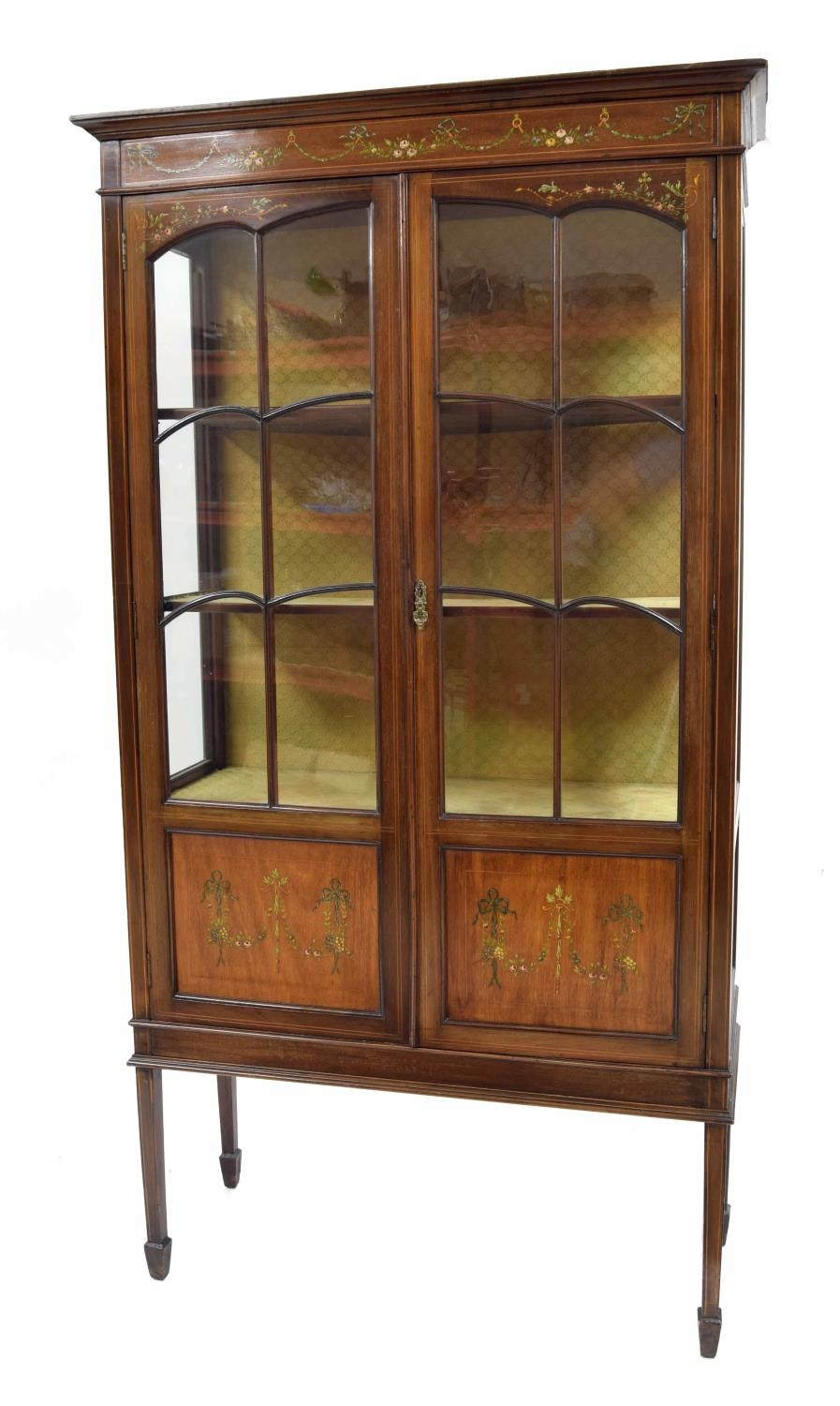 Edwardian mahogany inlaid and painted display cabinet painted with floral harebell garlands with two