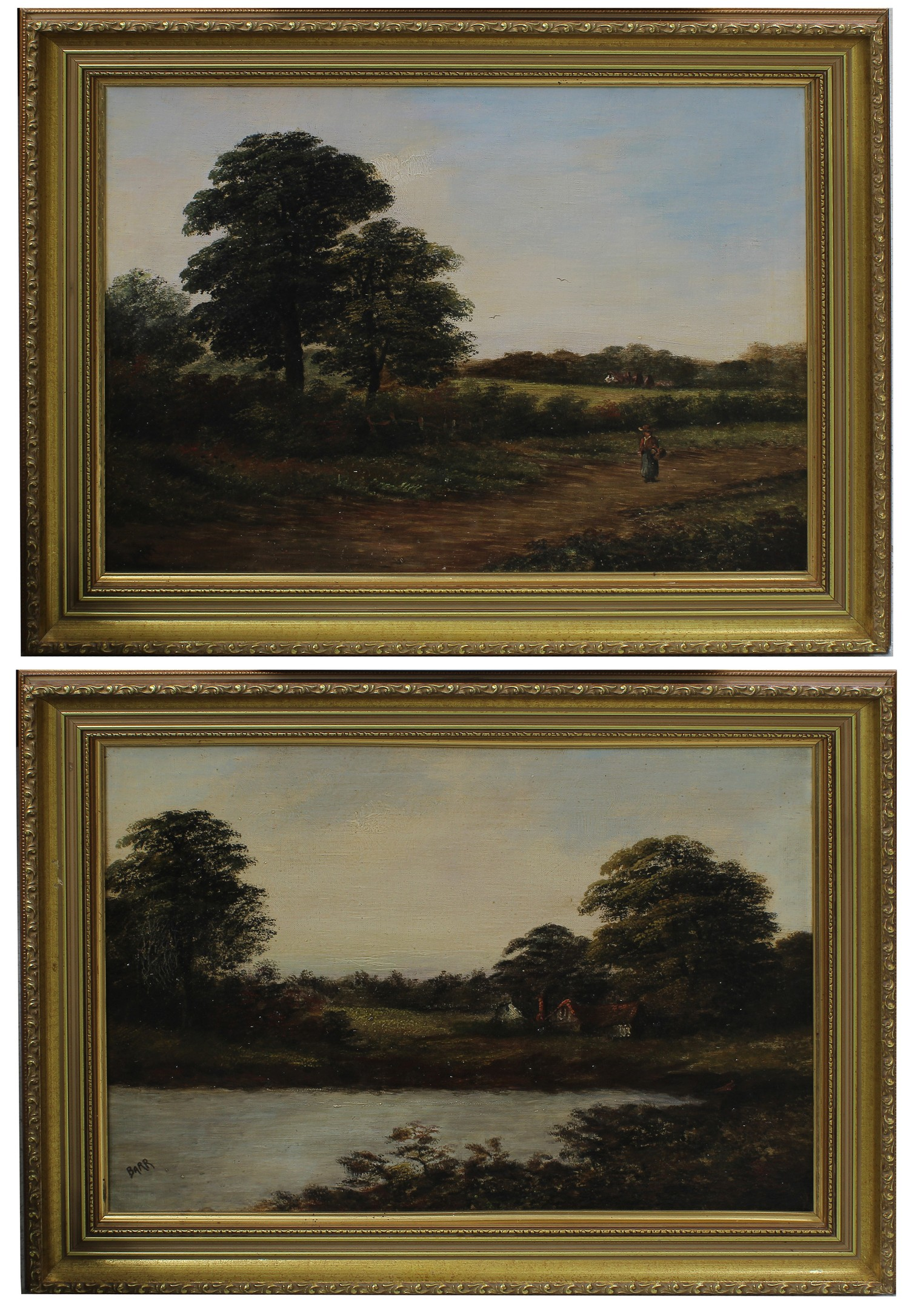 **Barr (20th century) -landscape with a figure walking on a path, tress beside a wooden fence and