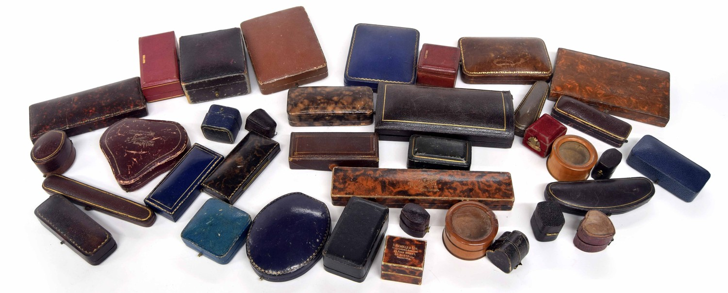 Collection of antique and later jewellery boxes