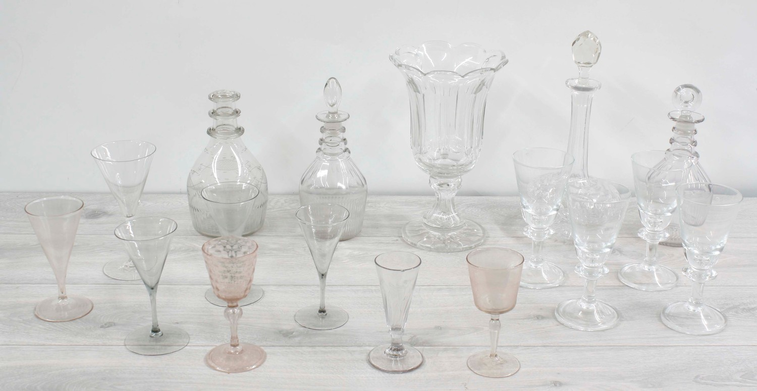 Assorted antique and later glassware;including four decanters, pedestal facet-cut vase and drinking