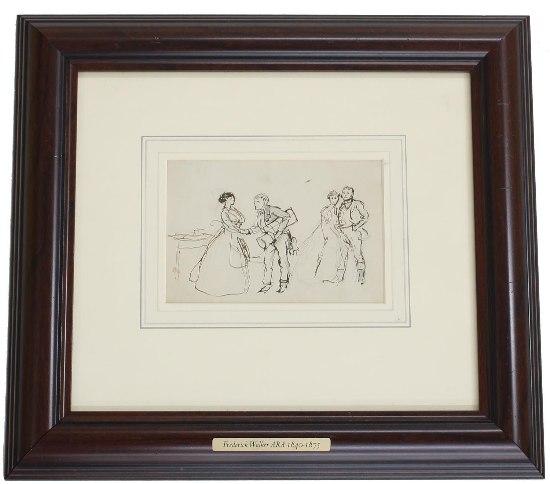 Frederick Walker ARA (1840-1875) - figures in conversation, pencil, pen and ink, a preparatory