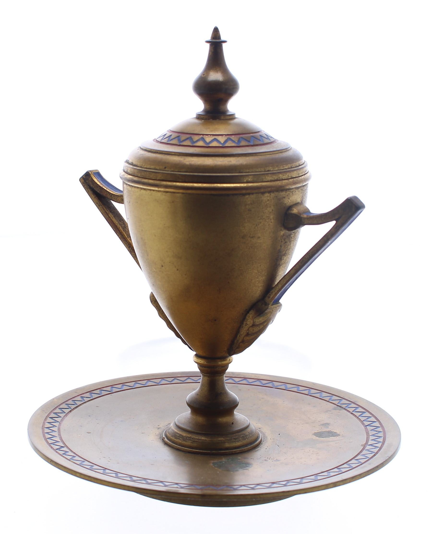 """Circular gilt inkwell in the form of a twin-handled urn, decorated with geometric blue borders, 5.5"""" - Image 3 of 3"""
