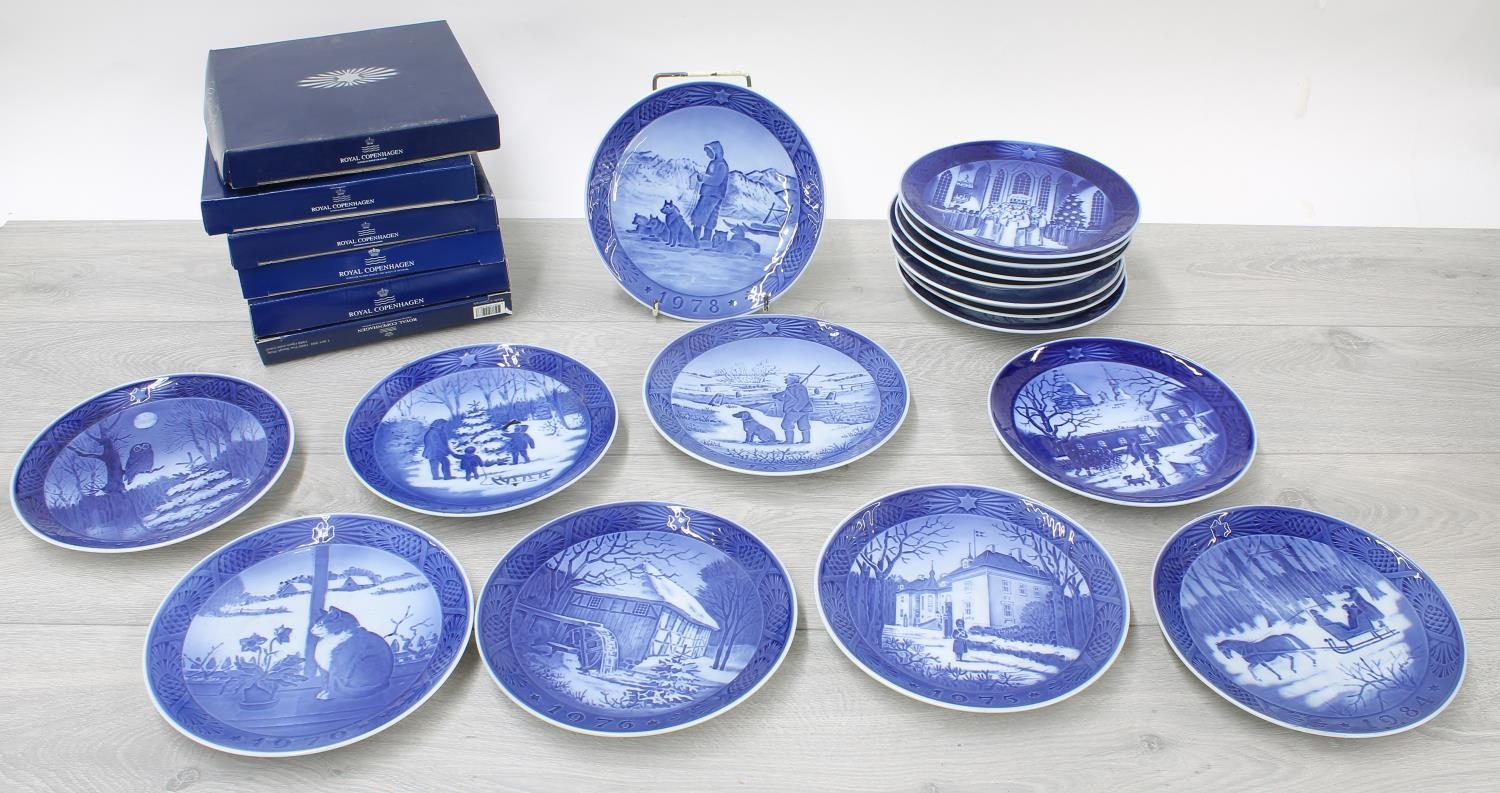 """Collection of Royal Copenhagen blue and white Christmas plates, each 7.25"""" diameter (30 including"""