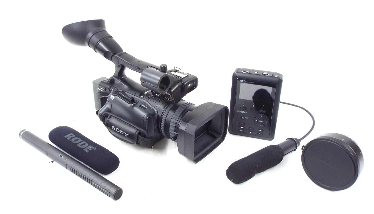 Sony HVR-V1E video camera outfit, with Carl Zeiss Vario-Sonnar T* 1,6/3,9-78 lens, wide conversion