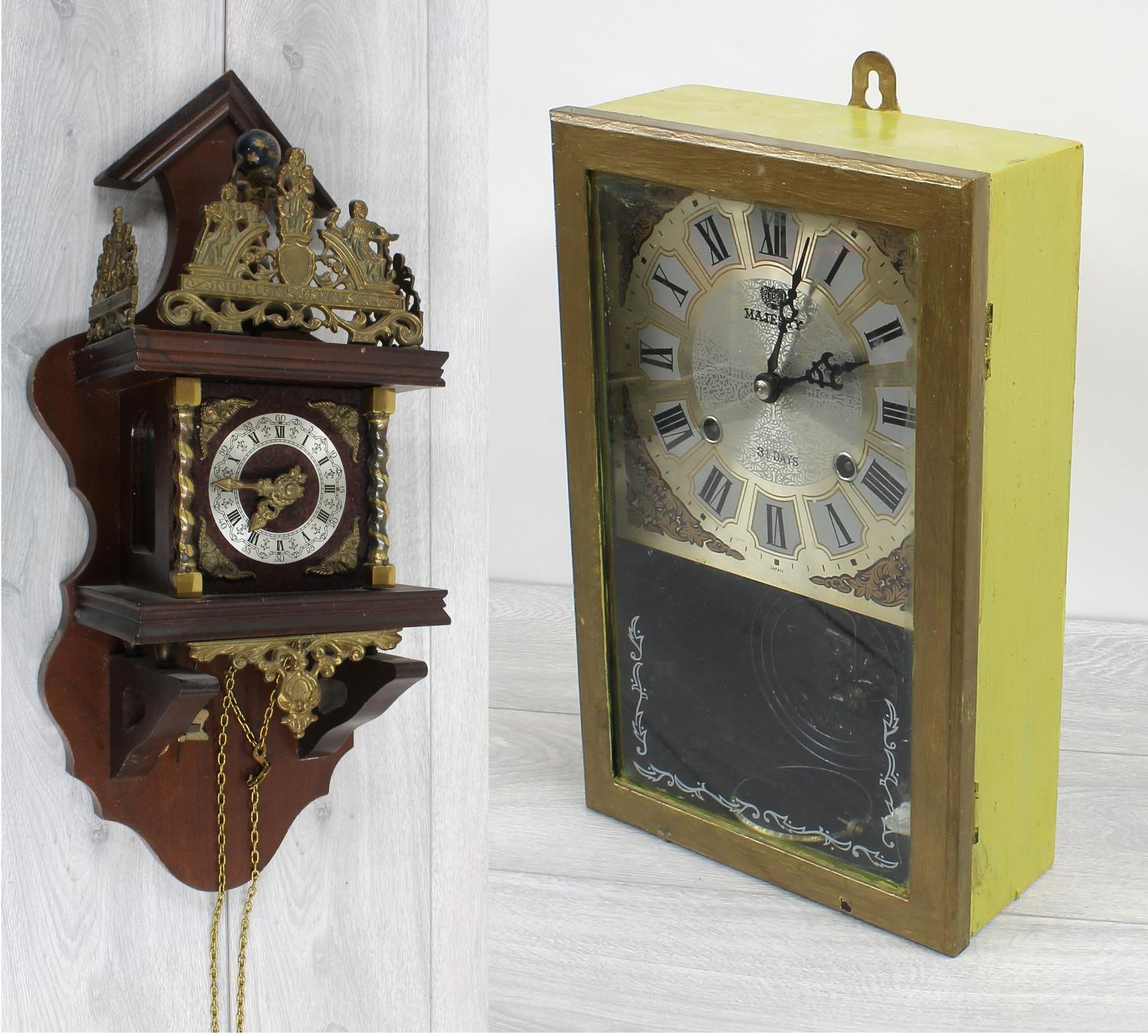 """Reproduction Dutch wall clock (staartklok) with applied gilt metal mounts, 20.5"""" high (with two"""