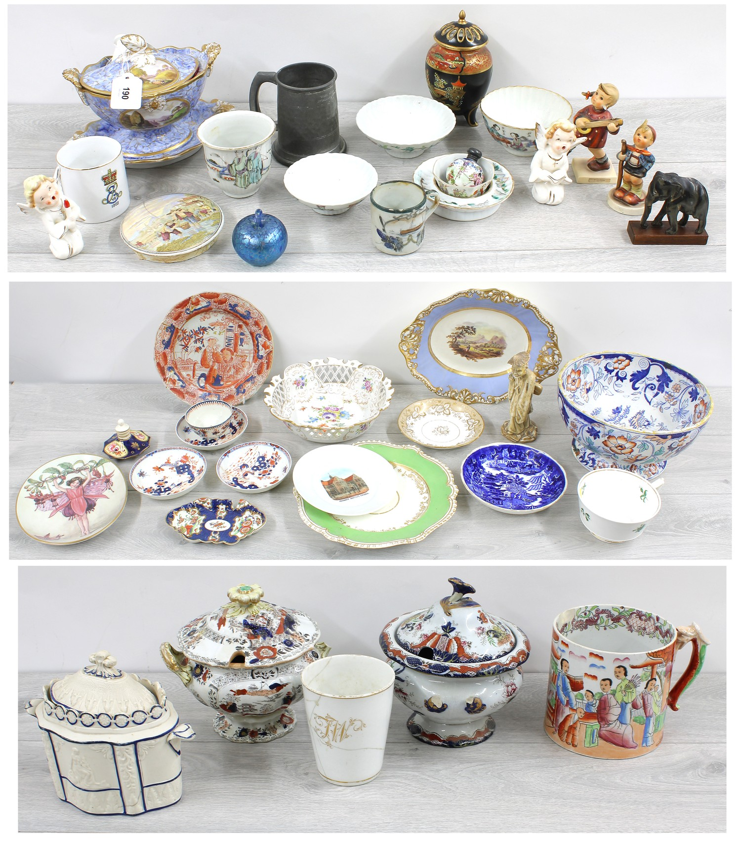 Large collection of assorted porcelain and pottery including tureens, teapots, tea bowls/cups and