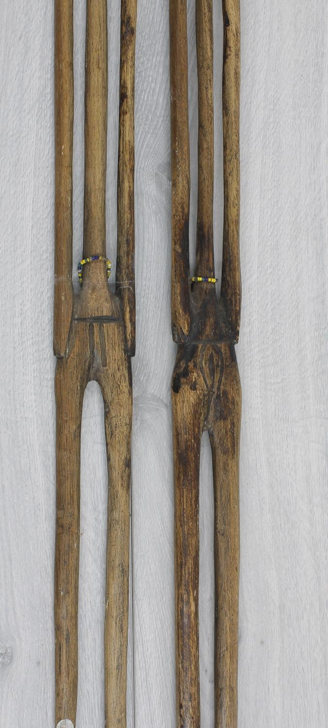 Two similar interesting African tribal wooden staffs, each surmounted with carved bead set heads, - Image 2 of 3