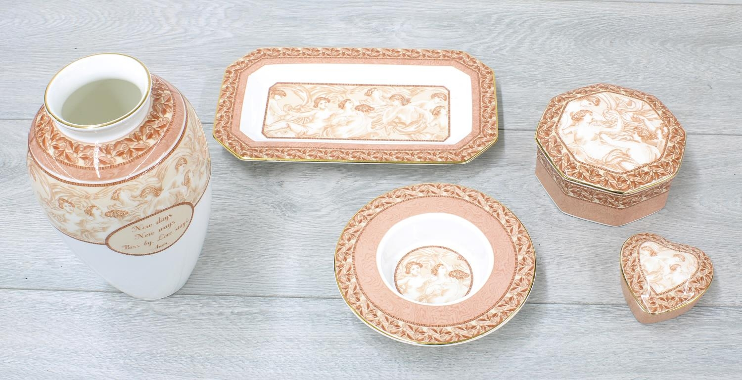 """Wedgwood 'Venus' Bone China to include an ovoid vase, 7"""" high; octagonal box and cover, circular"""