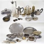 Assorted silver plated table wares including toast rack, wine coasters, teapot, cut glass