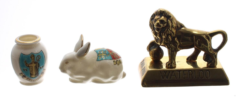 "Arcadian crested china rabbitwith Dawlish crest, 2.5"" long; Goss crested china miniature urn with"