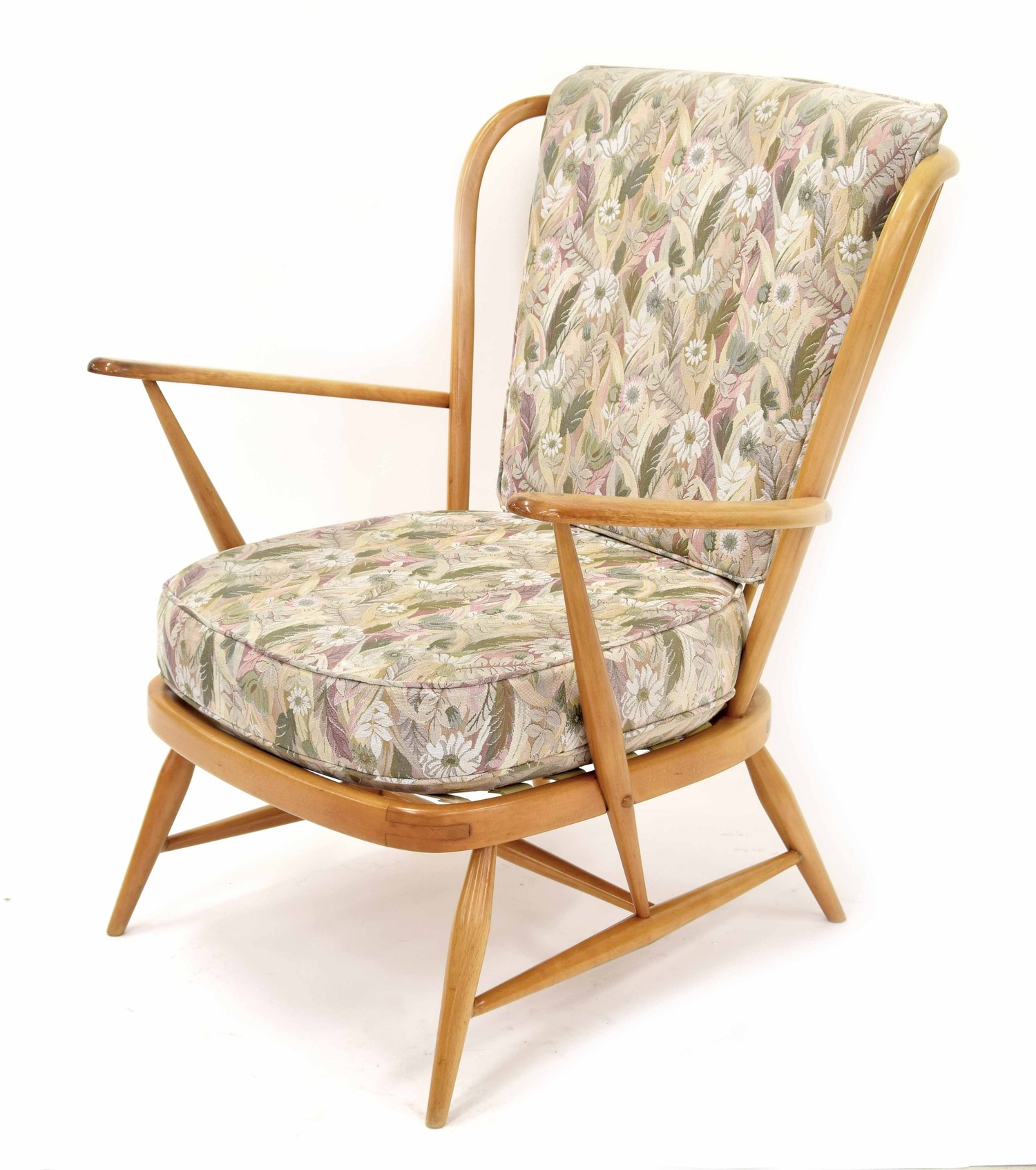 """Ercol beech framed stick back lounge chair, 28"""" wide, 28"""" deep approx, 32"""" high back"""