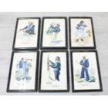 Sun Kat Chan (Chinese 20th century) - Rig of the Day, six watercolours on silk, four signed, each