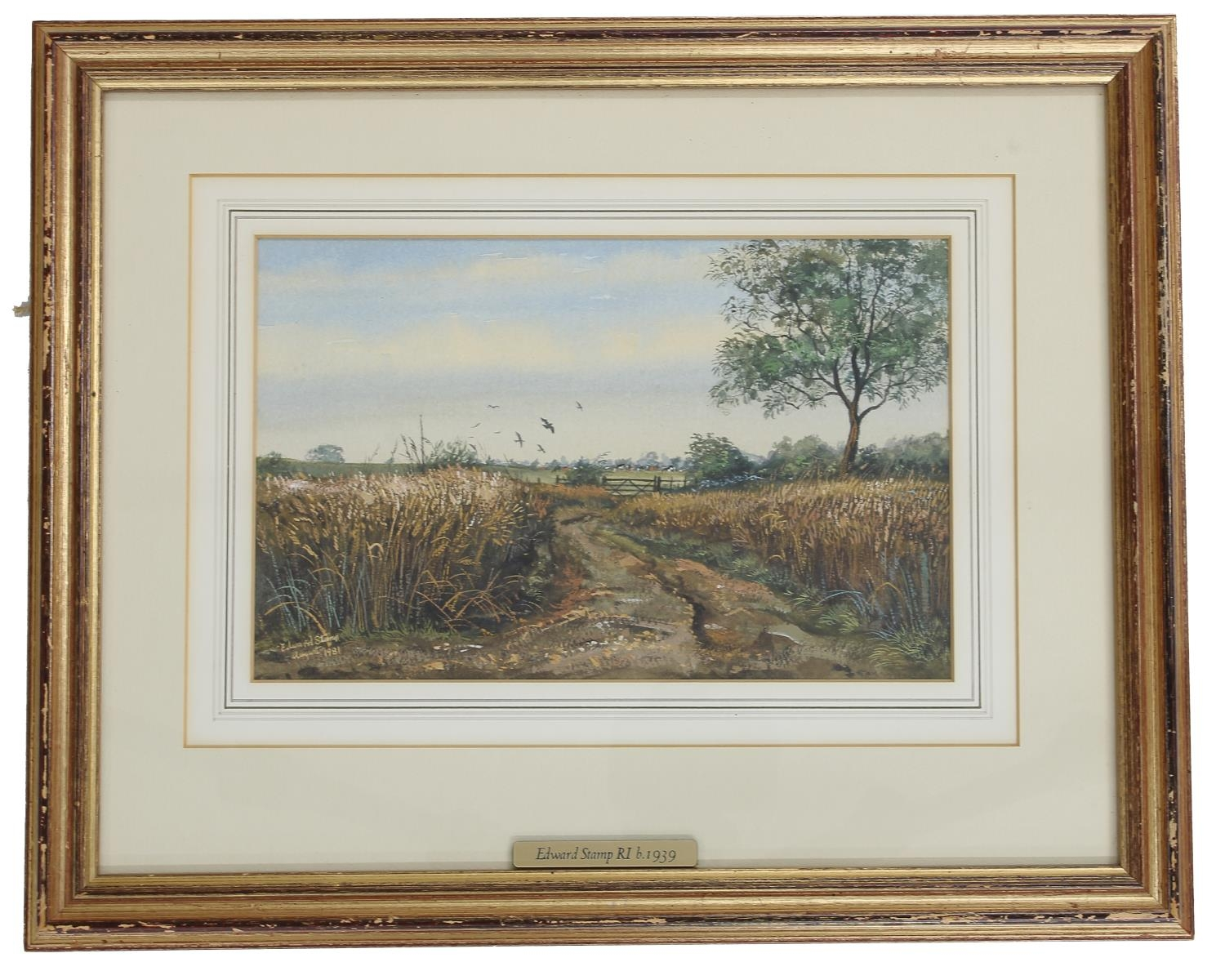 """Edward Stamp RI (b. 1939) -'Track Through corn, Swanbourne', signed and dated 1981, watercolour, 7"""""""