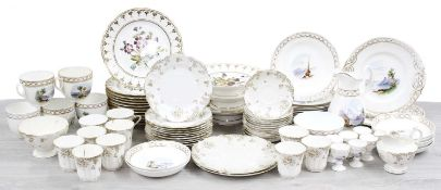 19th century porcelain dessert service decorated with flowers; 19th century porcelain tea service
