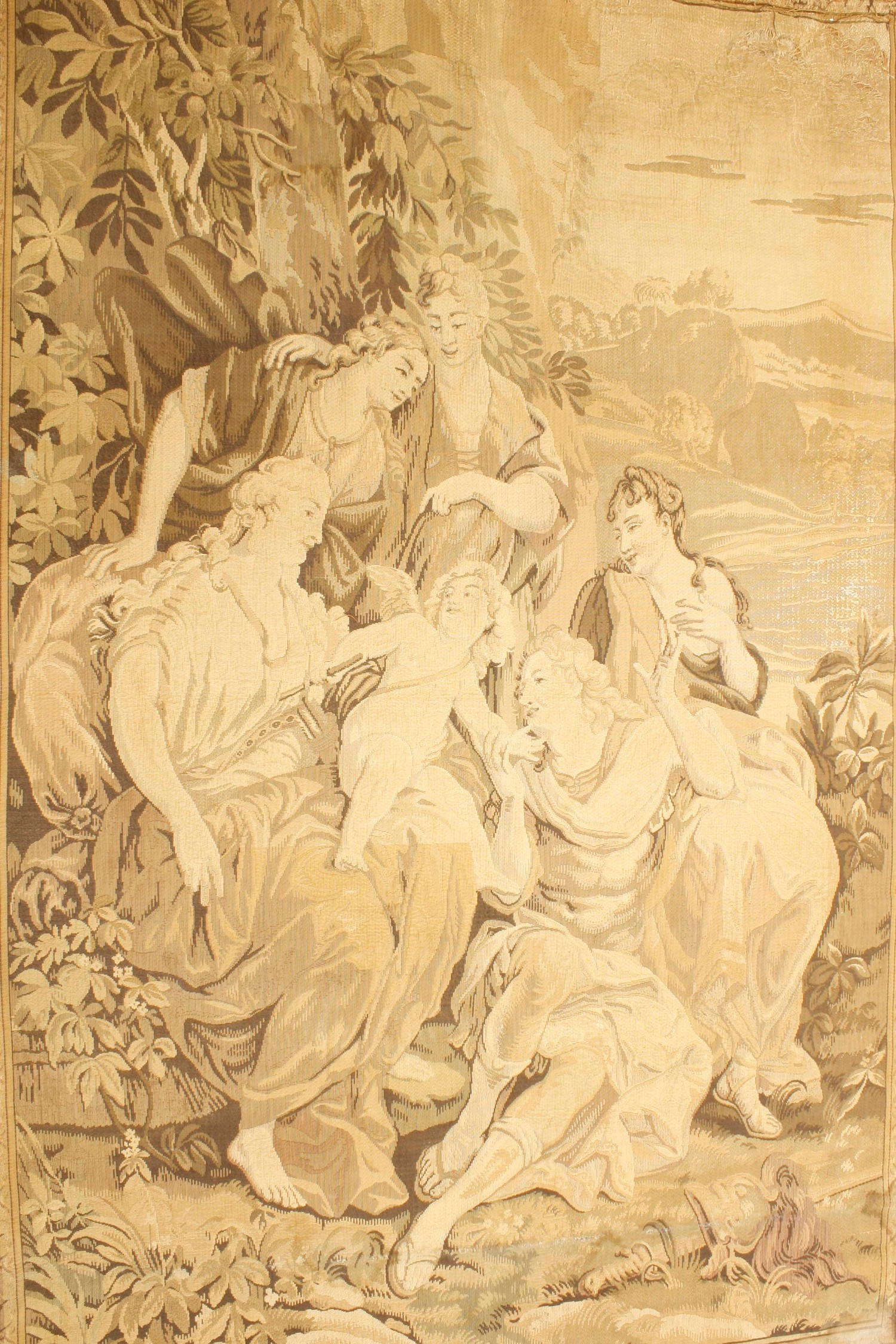 """Large tapestry wall hanging decorated with classical figural scene in a garden, 84"""" x 62"""""""