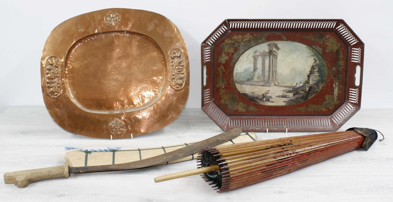"""Newlyn type repousse and plannished copper tray, 17.25"""" x 15.5"""", toleware tray with painted"""