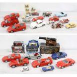 Assorted playworn diecast scale model automobiles;including by Burago, Maisto, Harley Davidson etc.