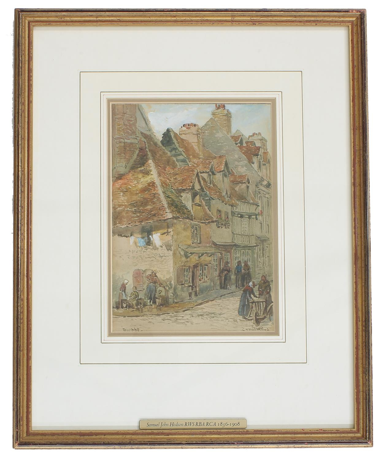 Samuel John Hodson RWS, PRA, (1836-1908) -'Dieppe', signed also inscribed with further inscriptions