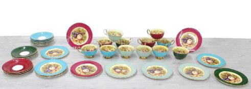 Attractive Aynsley porcelain tea service, painted with still life of fruits within various