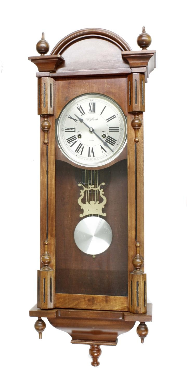 """Contemporary31 day two-train Vienna type wall clock, the dial signed Highlands, 38"""" high (pendulum"""