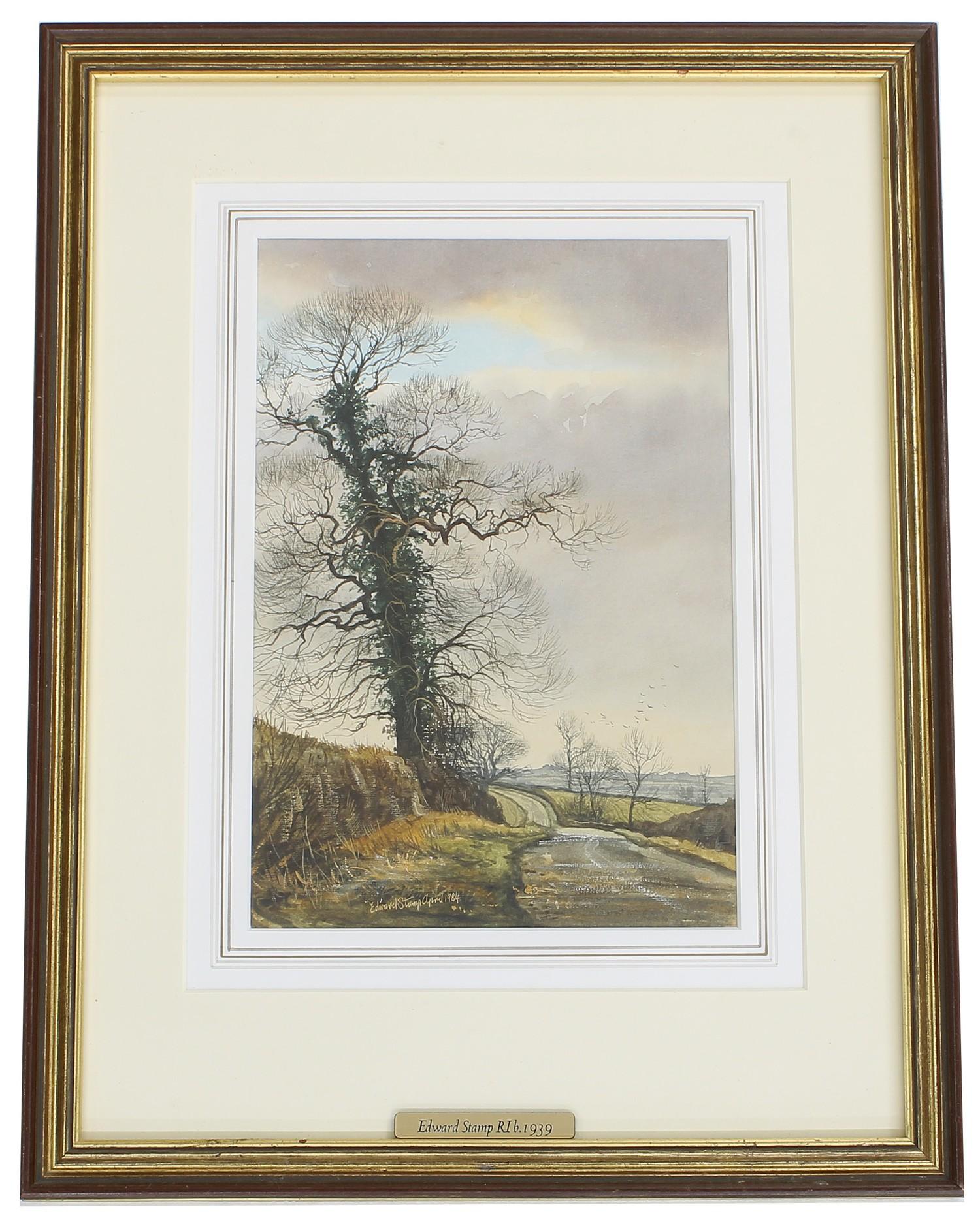 Edward Stamp RI (b. 1939) -'April Evening, Preston Bissett, Buckinghamshire', signed and dated 1984