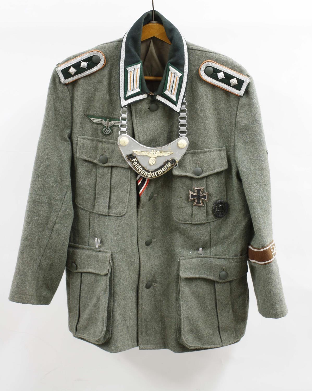 Replica German Feldgendarmerie Military Police uniform jacket,with badges and Gorget