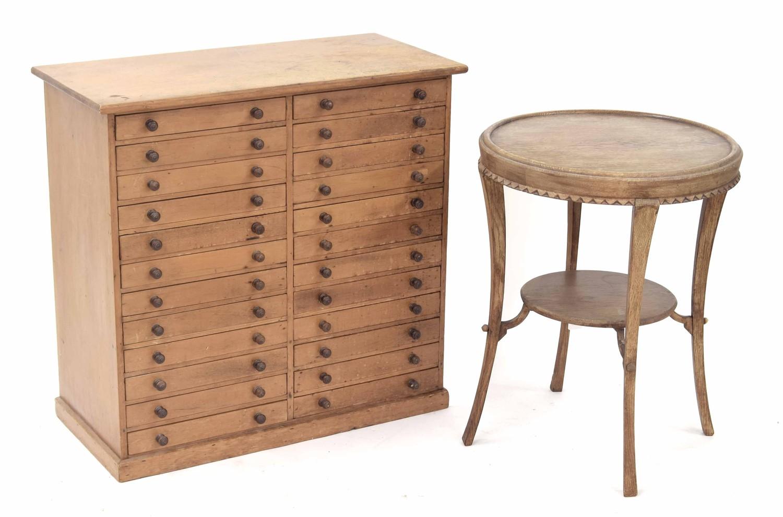 "Pine collectors/specimen chest of twenty-four short drawers, 29"" wide, 14"" deep, 28.5"" high;"