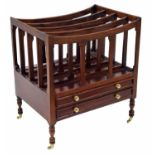 Reproduction stained hardwood Canterbury in the Regency style, the four division top over two