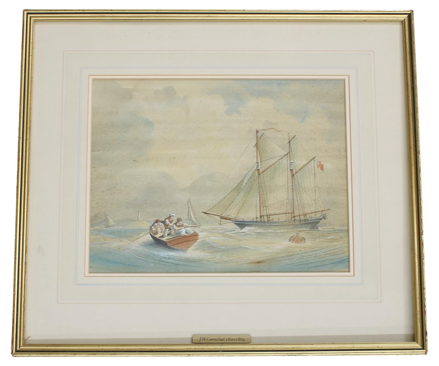 Follower of John Wilson Carmichael (19th century) -Ketch under full sail with a rowing boat in the