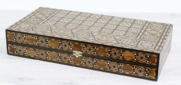"""Decorative parquetry folding inlaid chess/games box, 19.5"""" square open"""