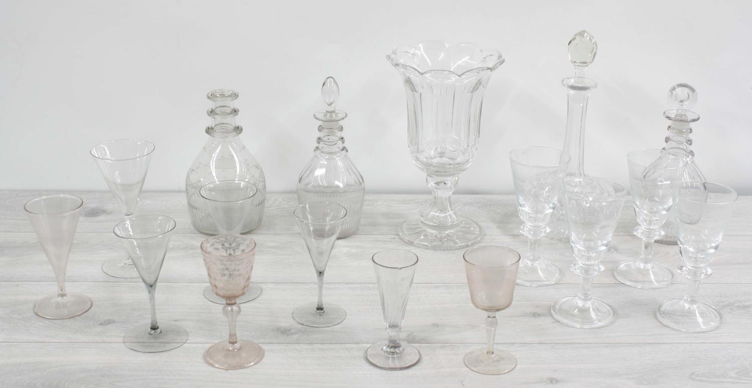 Assorted antique and later glassware;including four decanters, pedestal facet-cut vase and drinking - Image 2 of 4