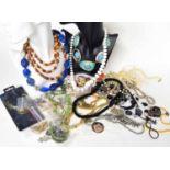 Selection of assorted costume jewellery, primarily bead necklaces, cufflinks etc