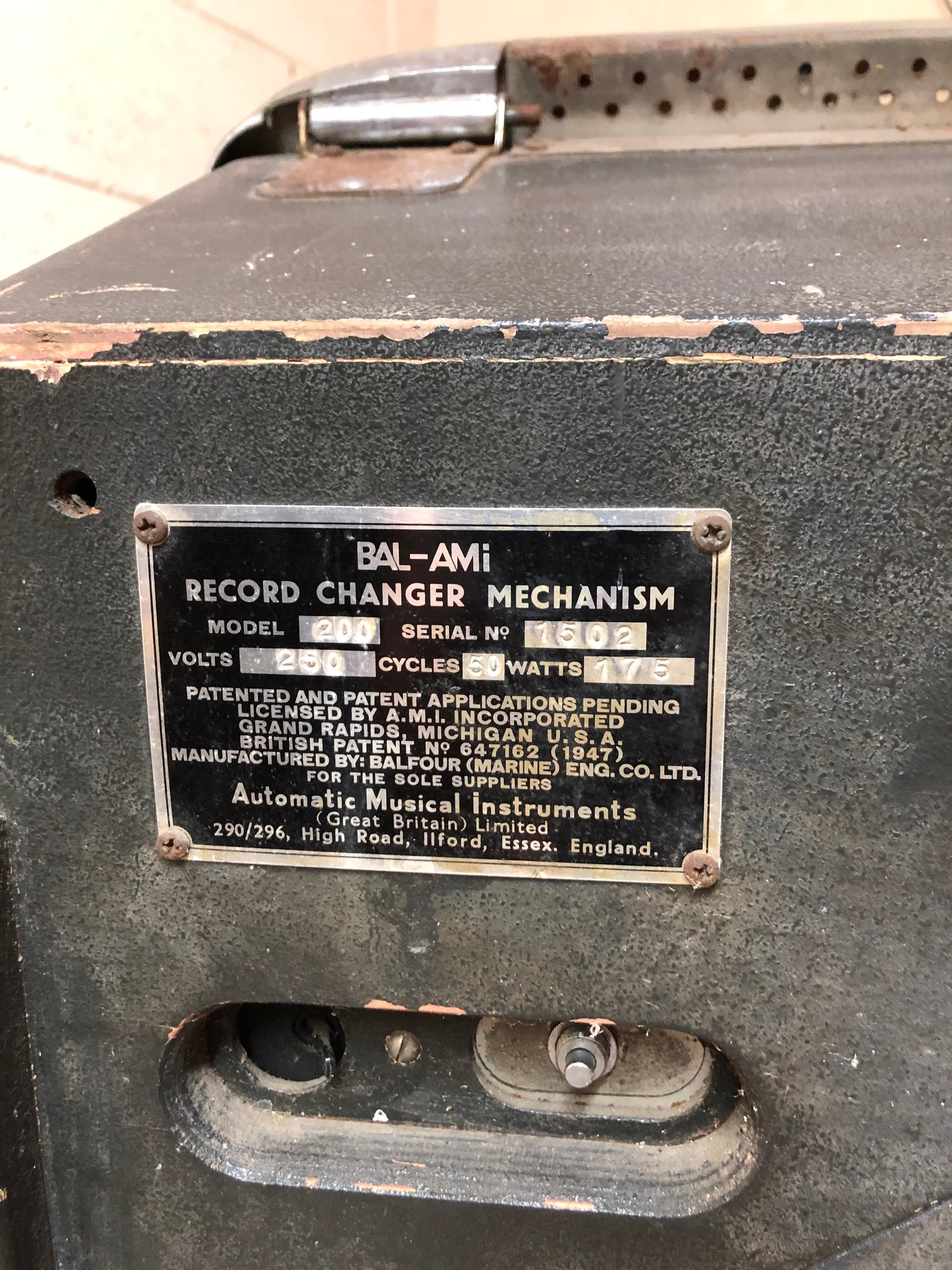 """Rare 1950s Bal-AMi 200 Jukebox in """"Barn Find"""" condition and in need of complete restoration, - Image 6 of 27"""