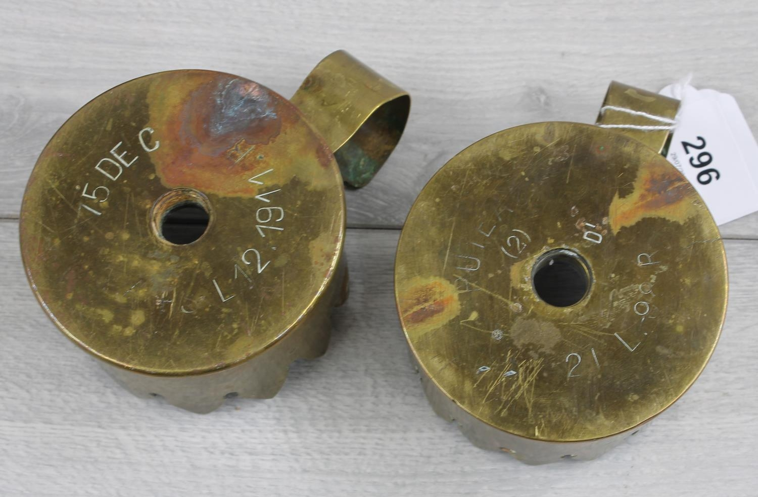 """Pair of 'trench art' chamber sticks modelled from shell casings, 3.75"""" diameter; together with cased - Image 2 of 2"""